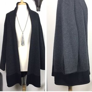 Schurwoole Knit Cardigan Duster XXL Charcoal Gray